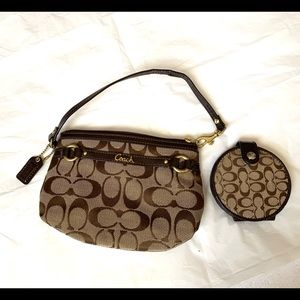 Coach wristlet with matching pocket mirror